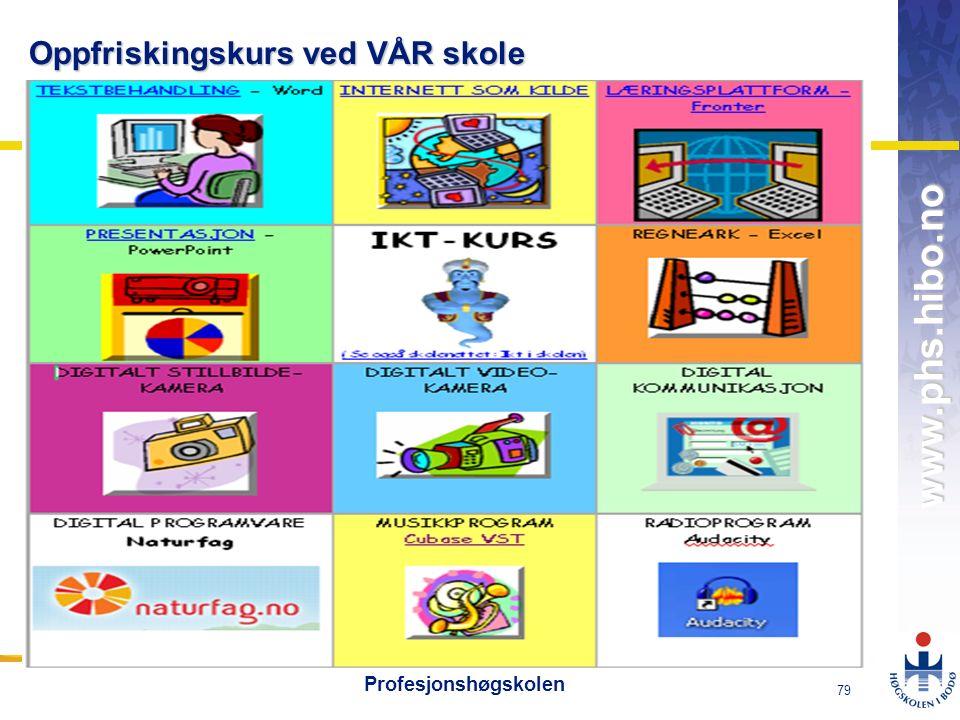 OMJ-98 www.phs.hibo.no 79 Profesjonshøgskolen Oppfriskingskurs ved VÅR skole