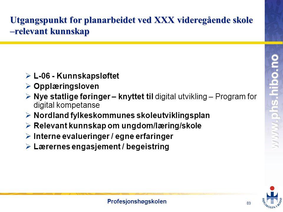 OMJ-98 www.phs.hibo.no 89 Profesjonshøgskolen Utgangspunkt for planarbeidet ved XXX videregående skole –relevant kunnskap  L-06 - Kunnskapsløftet  O