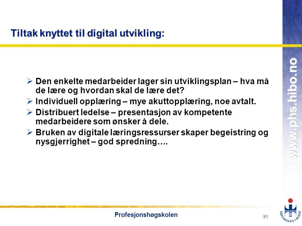 OMJ-98 www.phs.hibo.no 91 Profesjonshøgskolen Tiltak knyttet til digital utvikling:  Den enkelte medarbeider lager sin utviklingsplan – hva må de lære og hvordan skal de lære det.