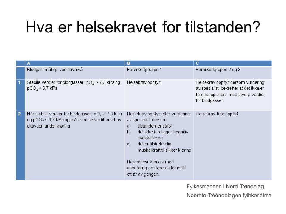 Hva er helsekravet for tilstanden? ABC Blodgassmåling ved havnivåFørerkortgruppe 1Førerkortgruppe 2 og 3 1. Stabile verdier for blodgasser: pO 2 > 7,3