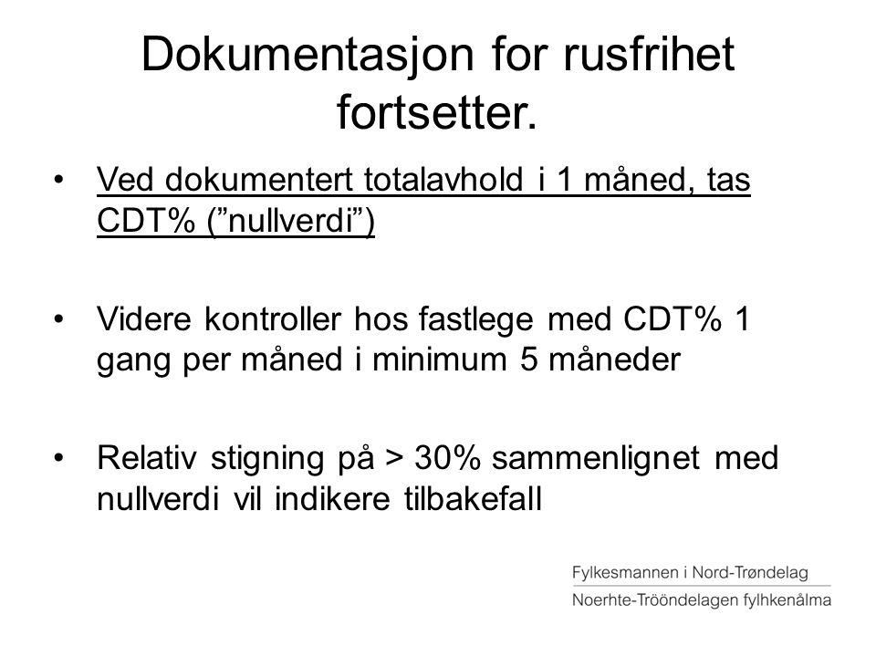 """Dokumentasjon for rusfrihet fortsetter. Ved dokumentert totalavhold i 1 måned, tas CDT% (""""nullverdi"""") Videre kontroller hos fastlege med CDT% 1 gang p"""