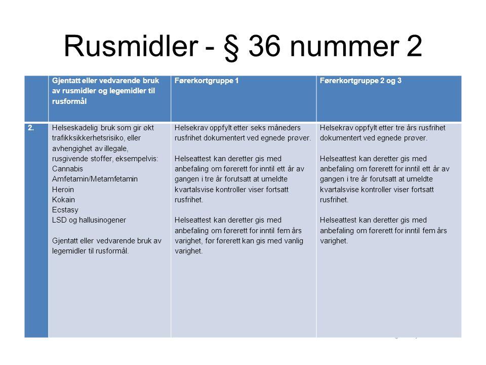 Rusmidler - § 36 nummer 2 Gjentatt eller vedvarende bruk av rusmidler og legemidler til rusformål Førerkortgruppe 1Førerkortgruppe 2 og 3 2.Helseskade
