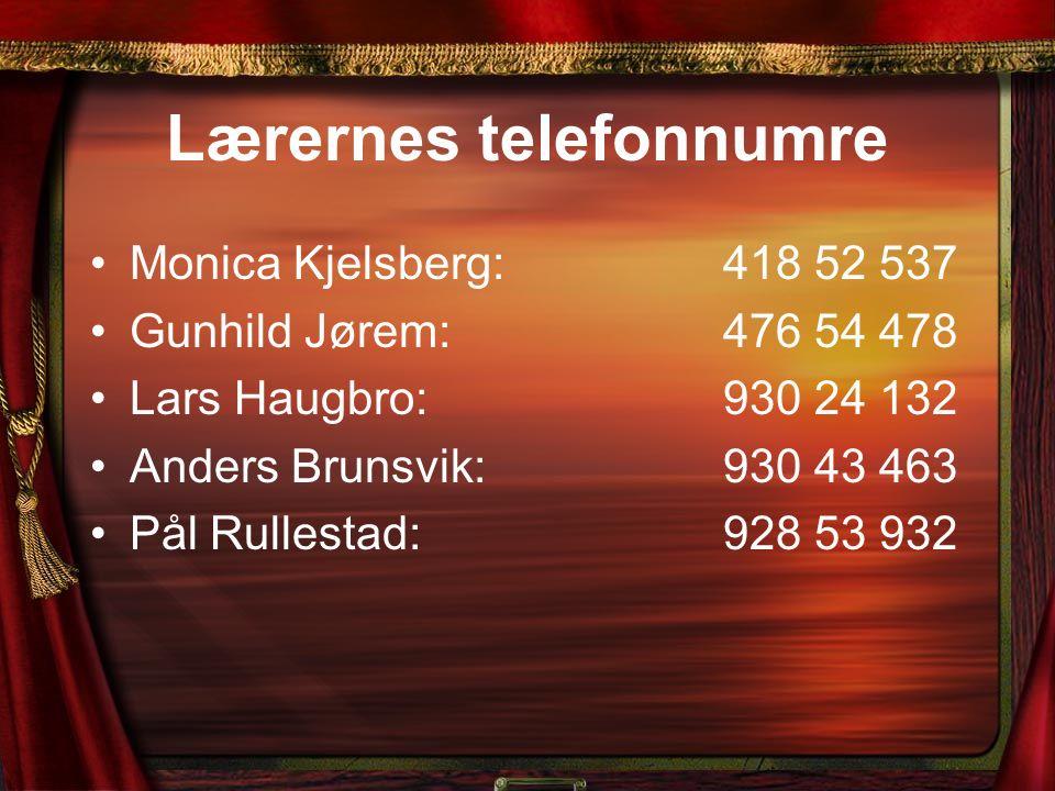 Lærernes telefonnumre Monica Kjelsberg: 418 52 537 Gunhild Jørem:476 54 478 Lars Haugbro:930 24 132 Anders Brunsvik:930 43 463 Pål Rullestad: 928 53 9