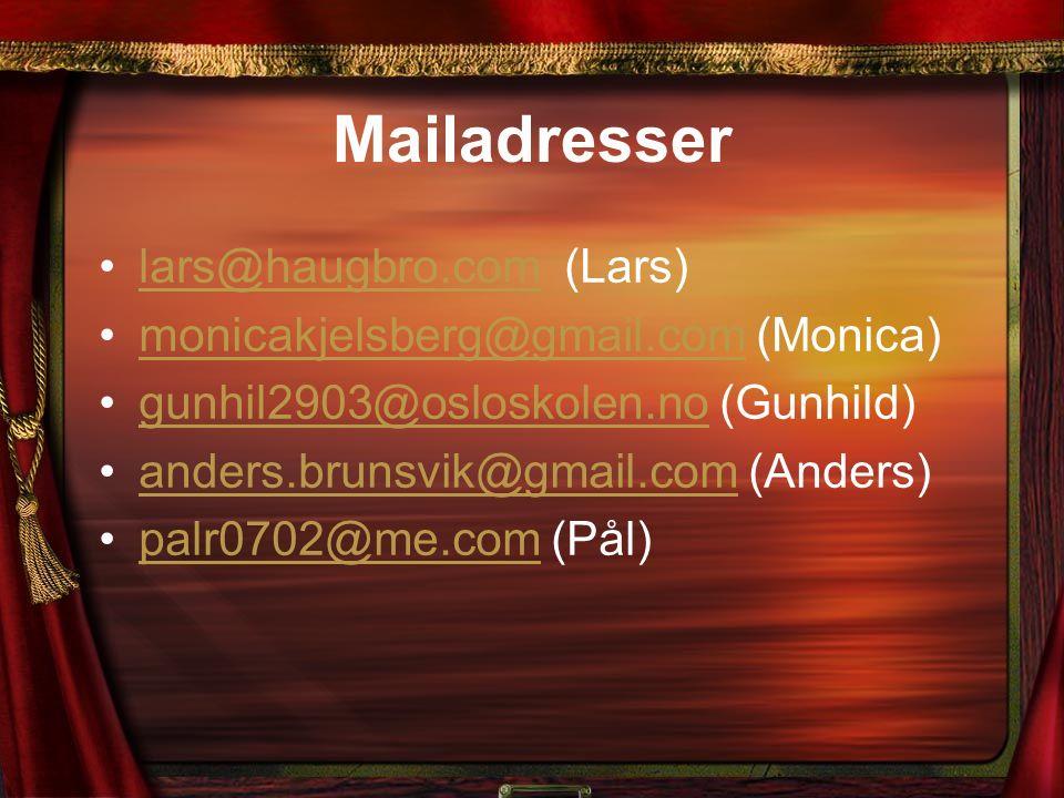 Mailadresser lars@haugbro.com (Lars)lars@haugbro.com monicakjelsberg@gmail.com (Monica)monicakjelsberg@gmail.com gunhil2903@osloskolen.no (Gunhild)gun
