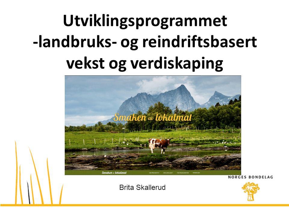Utviklingsprogrammet -landbruks- og reindriftsbasert vekst og verdiskaping Brita Skallerud