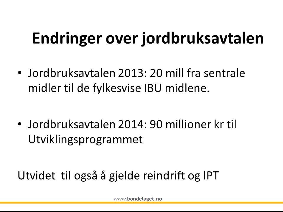 Endringer over jordbruksavtalen Jordbruksavtalen 2013: 20 mill fra sentrale midler til de fylkesvise IBU midlene.
