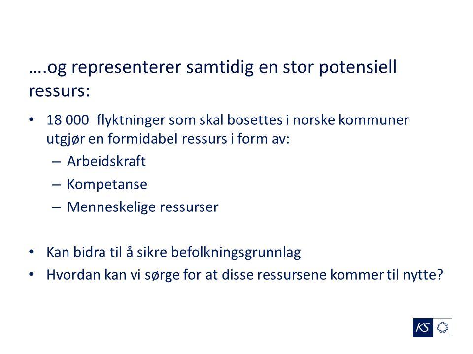 ….og representerer samtidig en stor potensiell ressurs: 18 000 flyktninger som skal bosettes i norske kommuner utgjør en formidabel ressurs i form av: – Arbeidskraft – Kompetanse – Menneskelige ressurser Kan bidra til å sikre befolkningsgrunnlag Hvordan kan vi sørge for at disse ressursene kommer til nytte