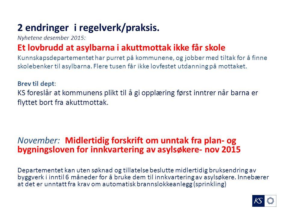 2 endringer i regelverk/praksis.
