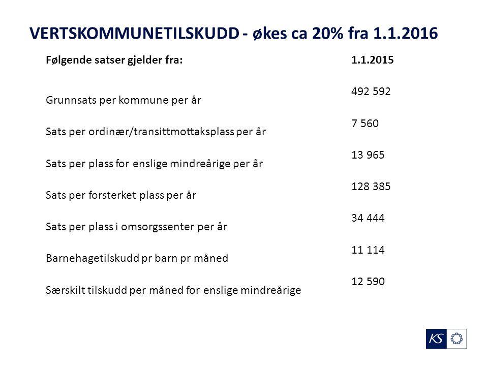 VERTSKOMMUNETILSKUDD - økes ca 20% fra 1.1.2016 Følgende satser gjelder fra:1.1.2015 Grunnsats per kommune per år 492 592 Sats per ordinær/transittmot