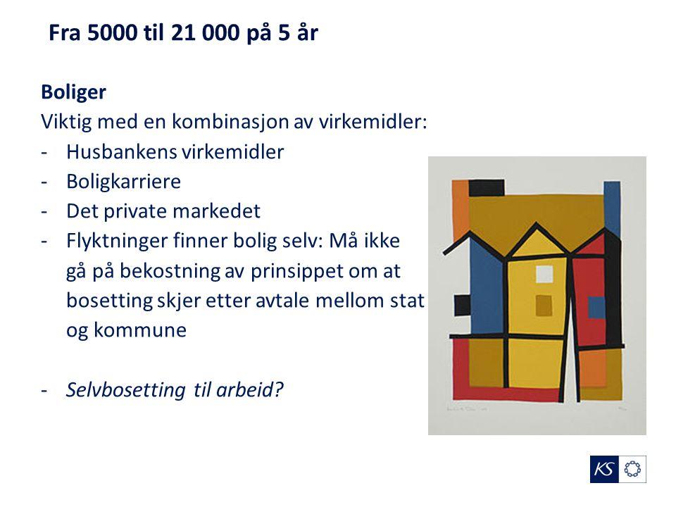 Fra 5000 til 21 000 på 5 år Boliger Viktig med en kombinasjon av virkemidler: -Husbankens virkemidler -Boligkarriere -Det private markedet -Flyktninge