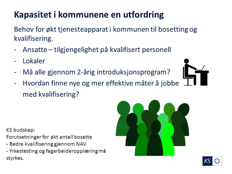 Kapasitet i kommunene en utfordring Behov for økt tjenesteapparat i kommunen til bosetting og kvalifisering. -Ansatte – tilgjengelighet på kvalifisert