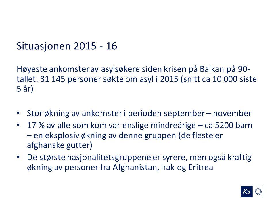 Situasjonen 2015 - 16 Høyeste ankomster av asylsøkere siden krisen på Balkan på 90- tallet.