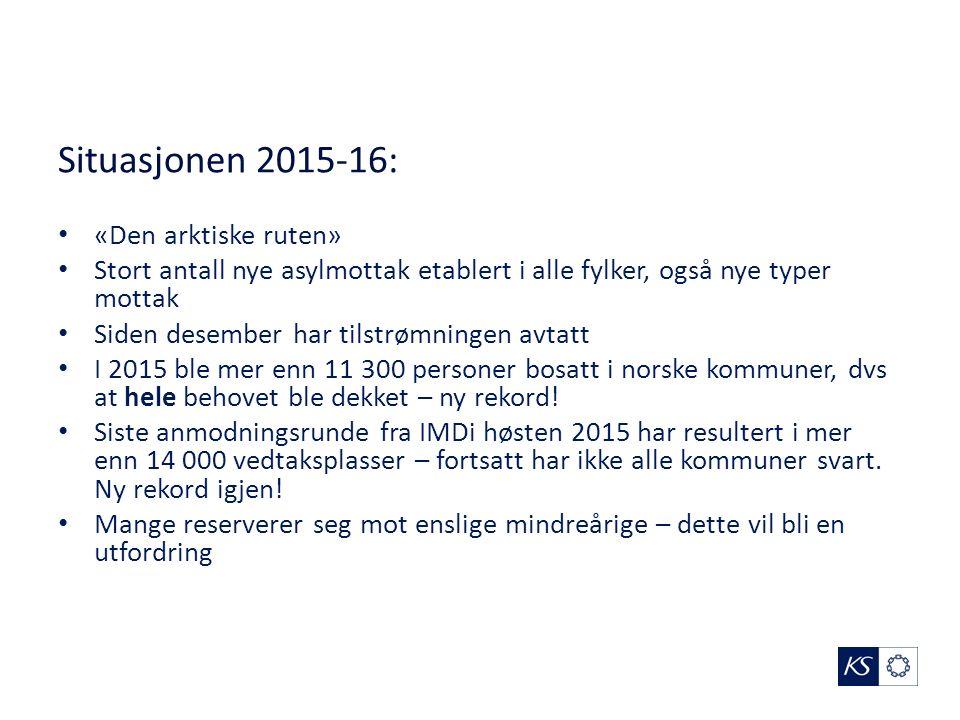 Situasjonen 2015-16: «Den arktiske ruten» Stort antall nye asylmottak etablert i alle fylker, også nye typer mottak Siden desember har tilstrømningen