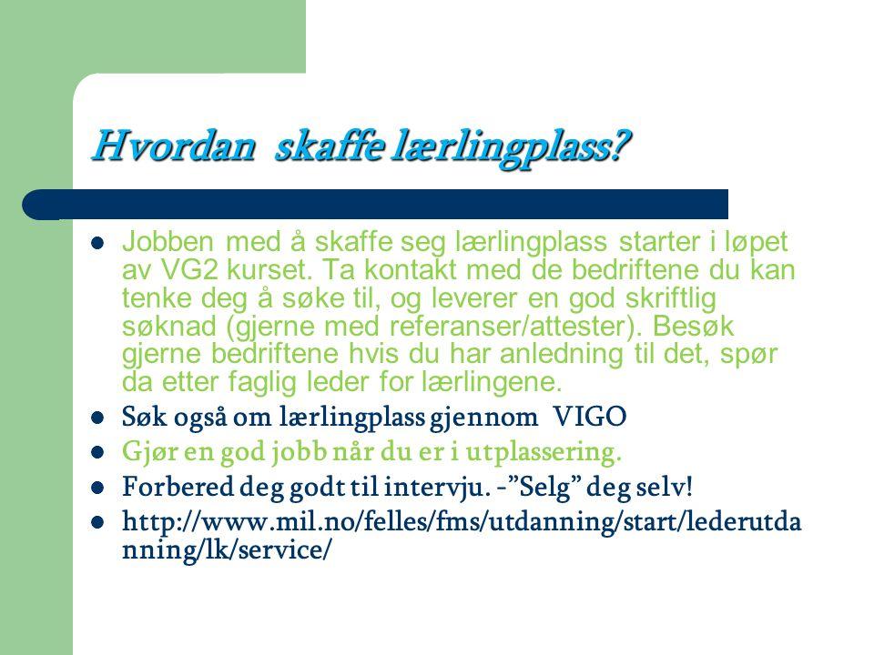 Vil du ha læreplass/jobb? Som lærling får du lønn: ett års begynnerlønn for fagarbeider fordelt over 2år, i tillegg får du verdifull erfaring. Bedrift
