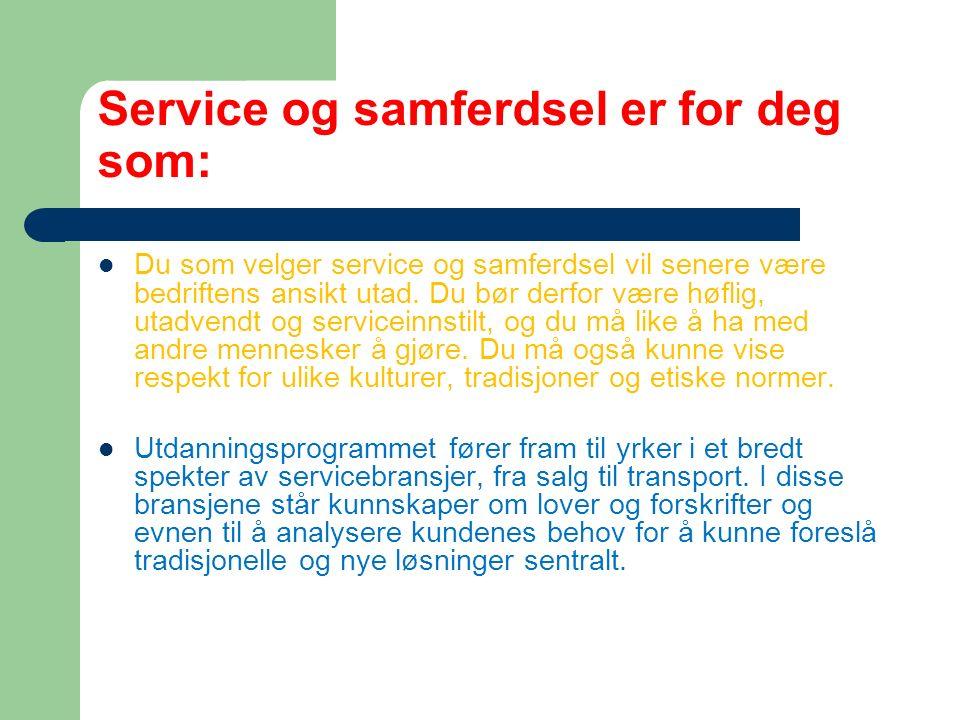 SERVICE- OG SAMFERDSEL Utdanningsveier Fag- og timefordeling Læreplass Studiekompetanse mm.