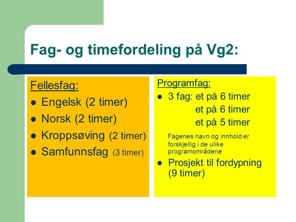 Fag- og timefordeling på Vg1: Fellesfag: Engelsk (3 timer) Matematikk (3 timer) Naturfag (2 timer) Norsk (2 timer) Kroppsøving (2 timer) Programfag: P