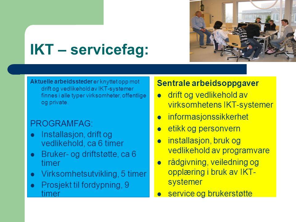 Fag- og timefordeling på Vg2: Fellesfag: Engelsk (2 timer) Norsk (2 timer) Kroppsøving (2 timer) Samfunnsfag (3 timer) Programfag: 3 fag: et på 6 time