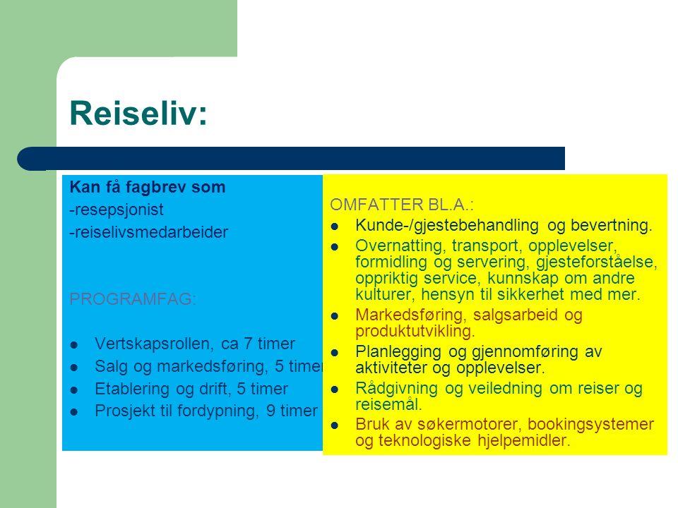 Salg, service og sikkerhet: Kan få fagbrev som -vekter -salgsmedarbeider -kontor og administrasjonsmedarbeider PROGRAMFAG: Markedsføring og salg, 6 timer Sikkerhet, 5 timer Økonomi og administrasjon, 6 timer Prosjekt til fordypning,9 timer OMFATTER BL.A.: Gjennomføre gode salgsprosesser.