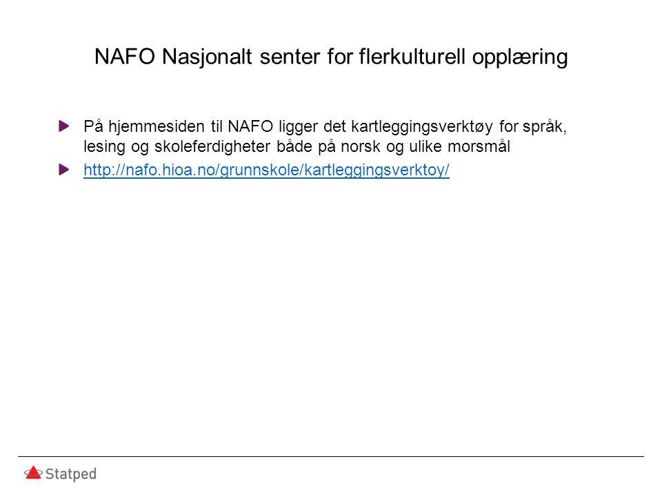 NAFO Nasjonalt senter for flerkulturell opplæring På hjemmesiden til NAFO ligger det kartleggingsverktøy for språk, lesing og skoleferdigheter både på norsk og ulike morsmål http://nafo.hioa.no/grunnskole/kartleggingsverktoy/