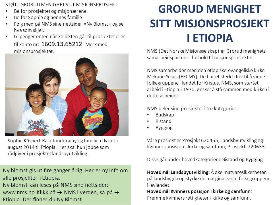 GRORUD MENIGHET SITT MISJONSPROSJEKT I ETIOPIA Ny blomst gis ut fire ganger årlig. Her er ny info om alle prosjekter i Etiopia. Ny Blomst kan leses på