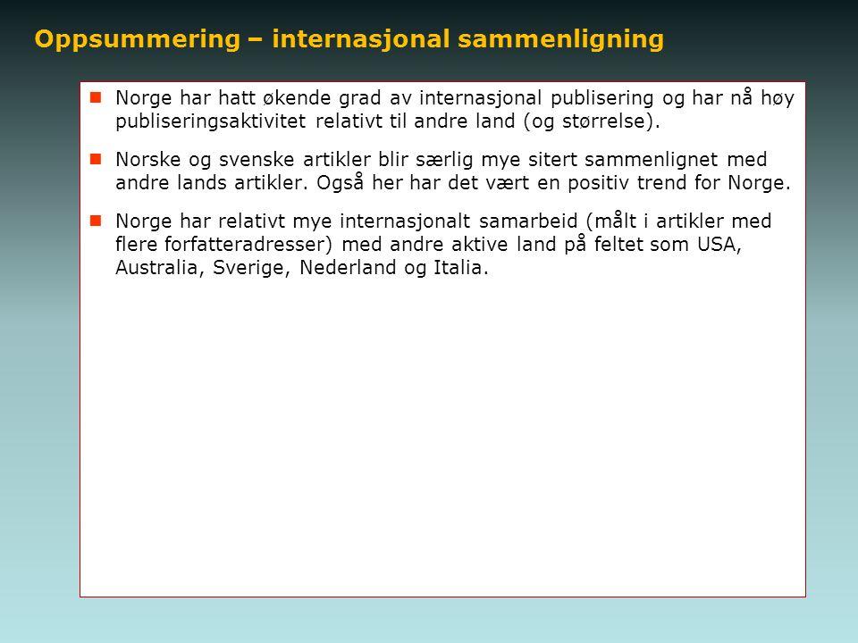 Oppsummering – internasjonal sammenligning Norge har hatt økende grad av internasjonal publisering og har nå høy publiseringsaktivitet relativt til andre land (og størrelse).