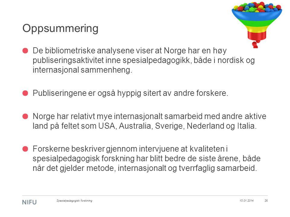 Oppsummering De bibliometriske analysene viser at Norge har en høy publiseringsaktivitet inne spesialpedagogikk, både i nordisk og internasjonal sammenheng.