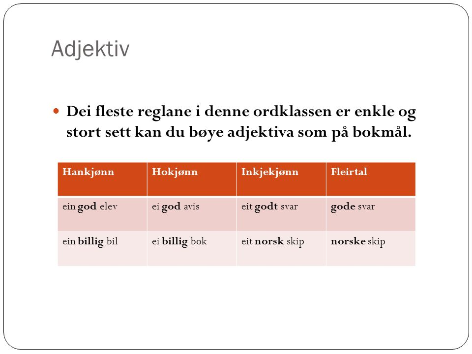 Adjektiv Dei fleste reglane i denne ordklassen er enkle og stort sett kan du bøye adjektiva som på bokmål.