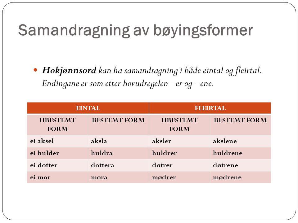 Samandragning av bøyingsformer Hokjønnsord kan ha samandragning i både eintal og fleirtal.