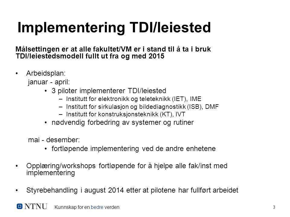 Kunnskap for en bedre verden 3 Implementering TDI/leiested Målsettingen er at alle fakultet/VM er i stand til å ta i bruk TDI/leiestedsmodell fullt ut