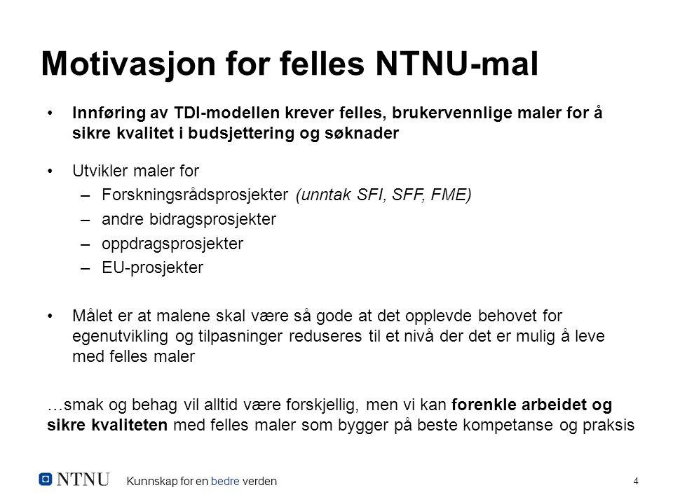 Kunnskap for en bedre verden 4 Motivasjon for felles NTNU-mal Innføring av TDI-modellen krever felles, brukervennlige maler for å sikre kvalitet i bud