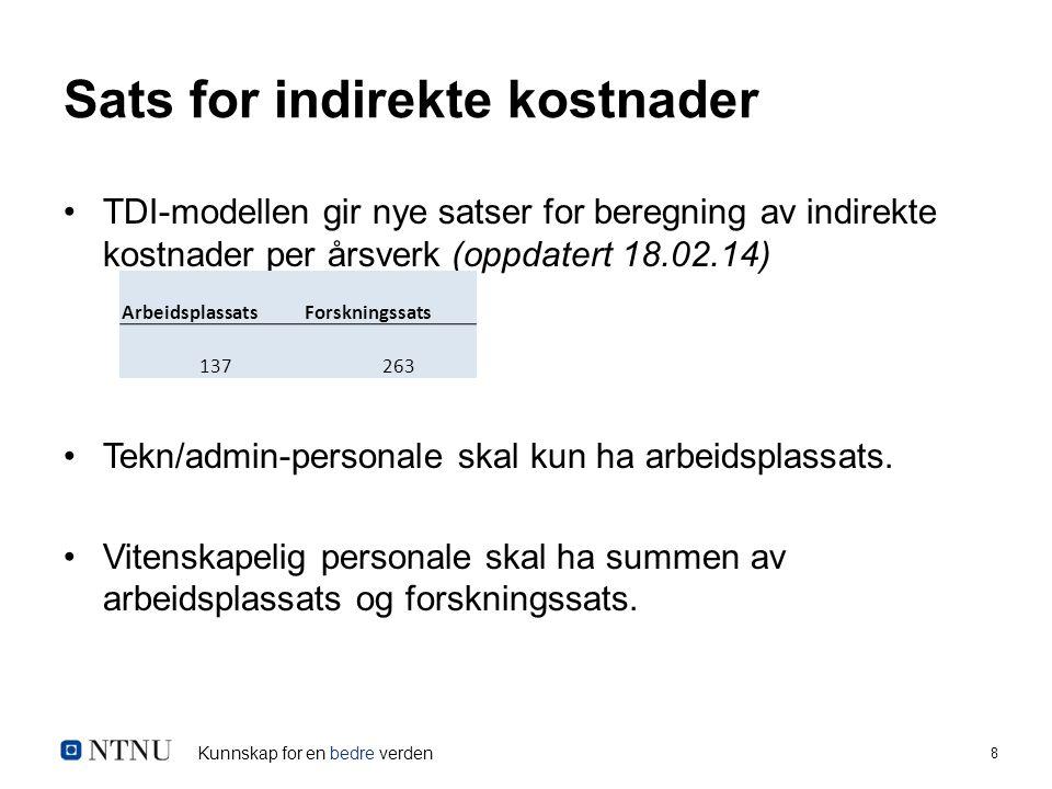 Kunnskap for en bedre verden 9 Ny mal for budsjettering av BOA-prosjekt Sørger for korrekt og automatisert beregning av indirekte kostnader for ulike typer personell og finansiering.