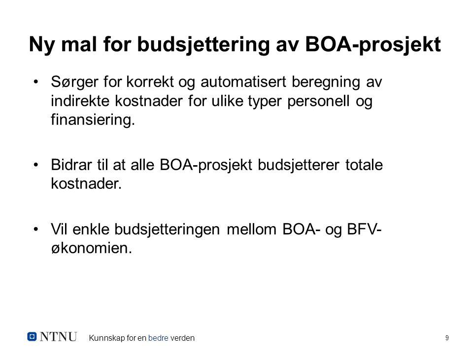 Kunnskap for en bedre verden 9 Ny mal for budsjettering av BOA-prosjekt Sørger for korrekt og automatisert beregning av indirekte kostnader for ulike