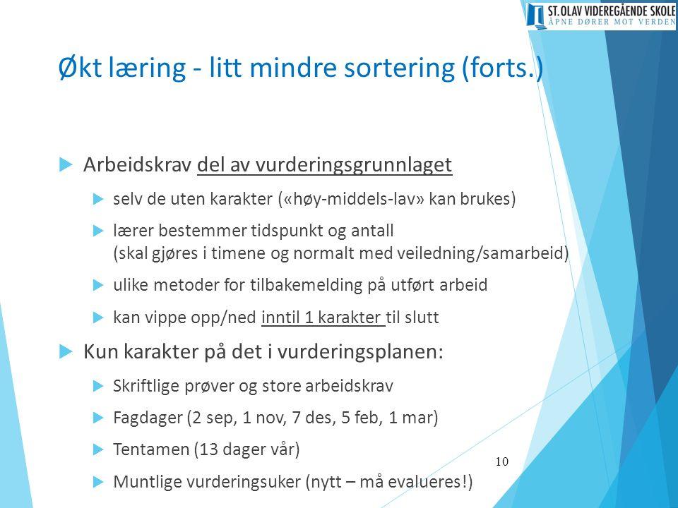Økt læring - litt mindre sortering (forts.)  Arbeidskrav del av vurderingsgrunnlaget  selv de uten karakter («høy-middels-lav» kan brukes)  lærer b