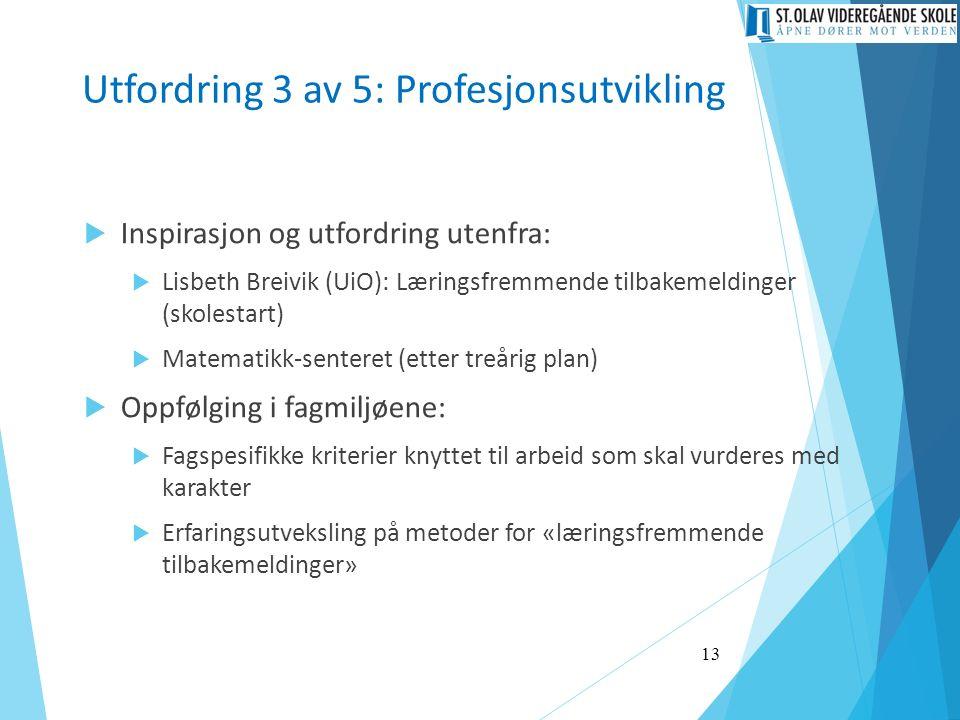 Utfordring 3 av 5: Profesjonsutvikling  Inspirasjon og utfordring utenfra:  Lisbeth Breivik (UiO): Læringsfremmende tilbakemeldinger (skolestart)  Matematikk-senteret (etter treårig plan)  Oppfølging i fagmiljøene:  Fagspesifikke kriterier knyttet til arbeid som skal vurderes med karakter  Erfaringsutveksling på metoder for «læringsfremmende tilbakemeldinger» 13