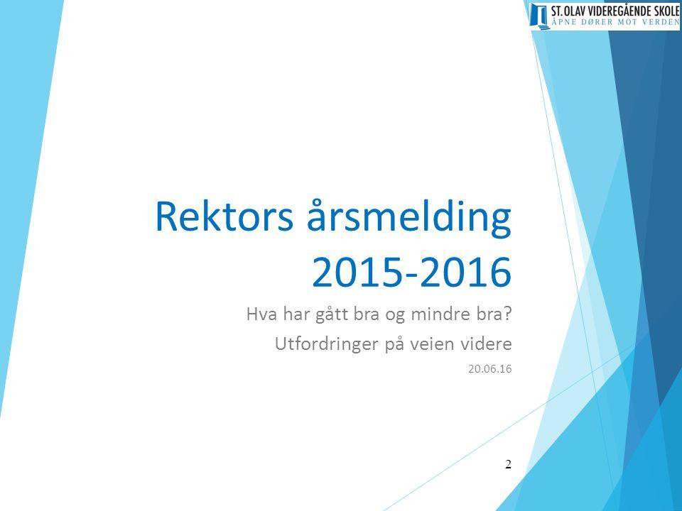 Rektors årsmelding 2015-2016 Hva har gått bra og mindre bra? Utfordringer på veien videre 20.06.16 2