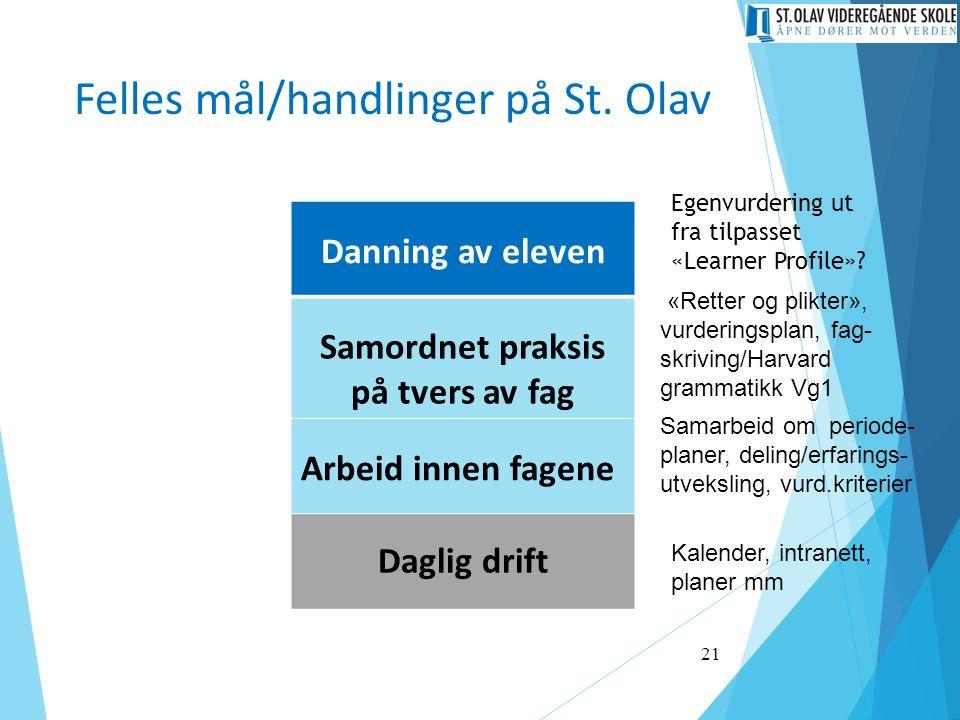 Felles mål/handlinger på St. Olav Danning av eleven Samordnet praksis på tvers av fag Arbeid innen fagene Daglig drift 21 Kalender, intranett, planer