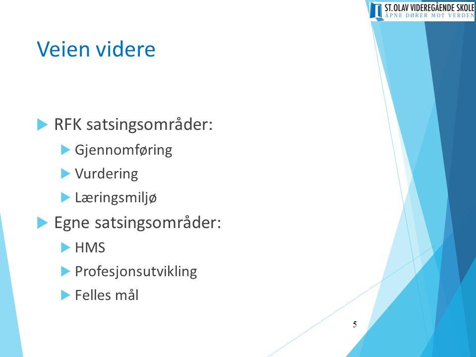 Veien videre  RFK satsingsområder:  Gjennomføring  Vurdering  Læringsmiljø  Egne satsingsområder:  HMS  Profesjonsutvikling  Felles mål 5