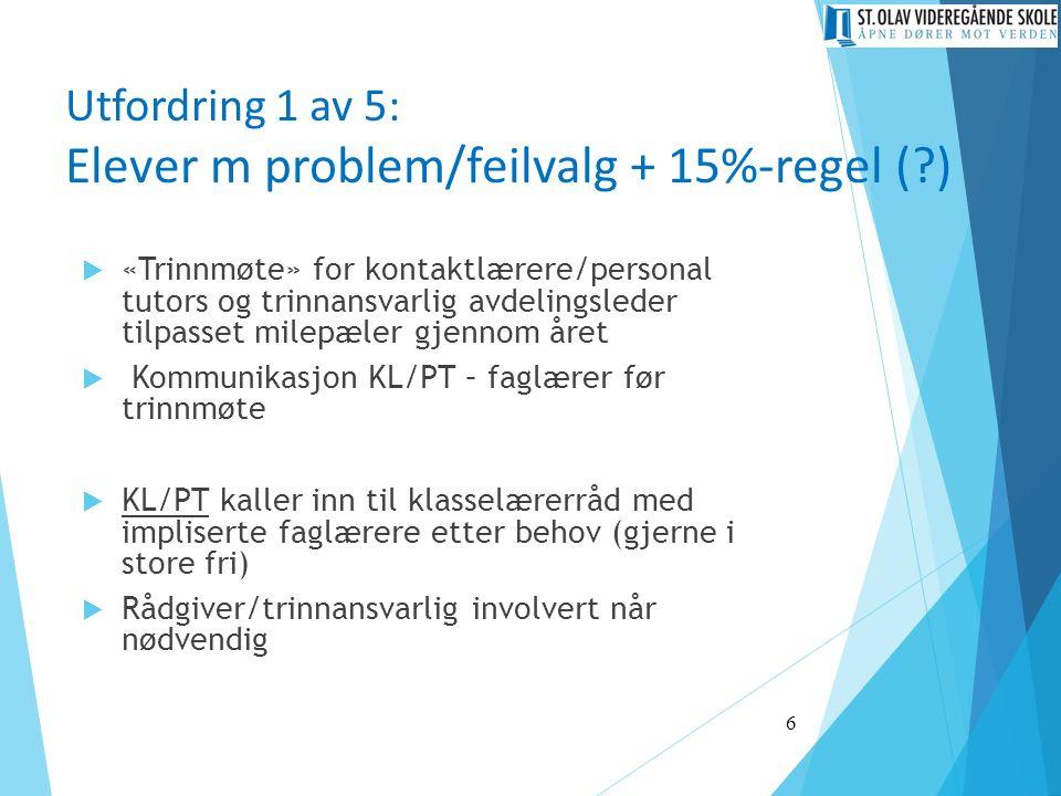 Utfordring 1 av 5: Elever m problem/feilvalg + 15%-regel (?)  «Trinnmøte» for kontaktlærere/personal tutors og trinnansvarlig avdelingsleder tilpasse
