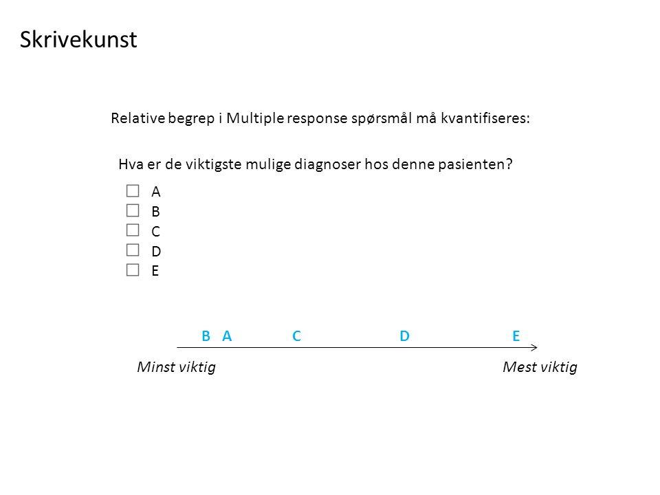 Hva er de viktigste mulige diagnoser hos denne pasienten.
