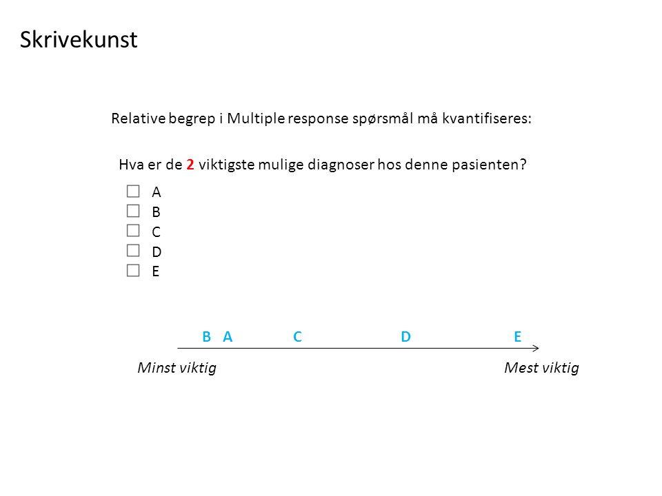Hva er de 2 viktigste mulige diagnoser hos denne pasienten.