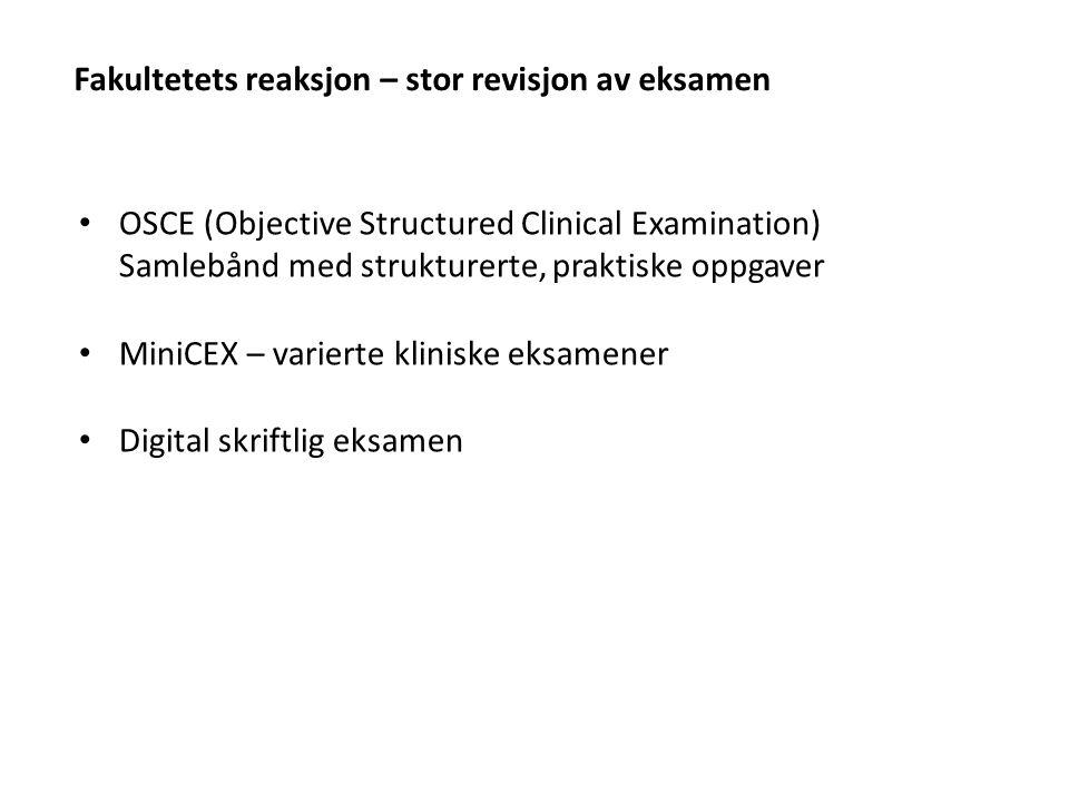 Fakultetets reaksjon – stor revisjon av eksamen OSCE (Objective Structured Clinical Examination) Samlebånd med strukturerte, praktiske oppgaver MiniCEX – varierte kliniske eksamener Digital skriftlig eksamen