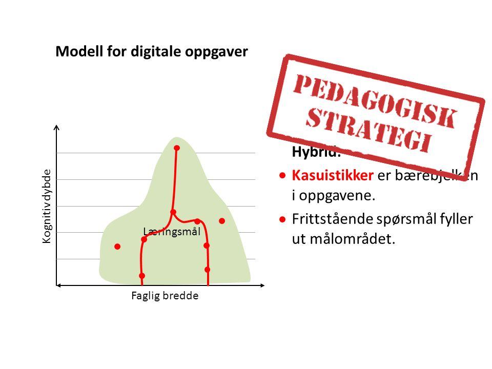 Hybrid: Kasuistikker er bærebjelken i oppgavene.Frittstående spørsmål fyller ut målområdet.