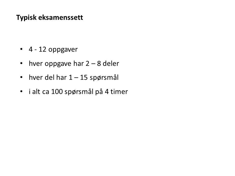 Typisk eksamenssett 4 - 12 oppgaver hver oppgave har 2 – 8 deler hver del har 1 – 15 spørsmål i alt ca 100 spørsmål på 4 timer
