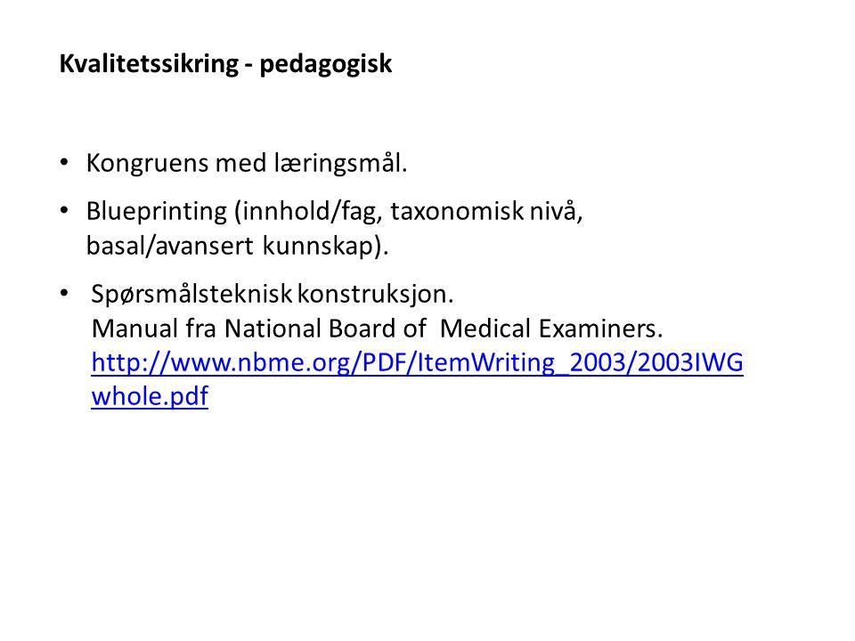 Kvalitetssikring - pedagogisk Kongruens med læringsmål.
