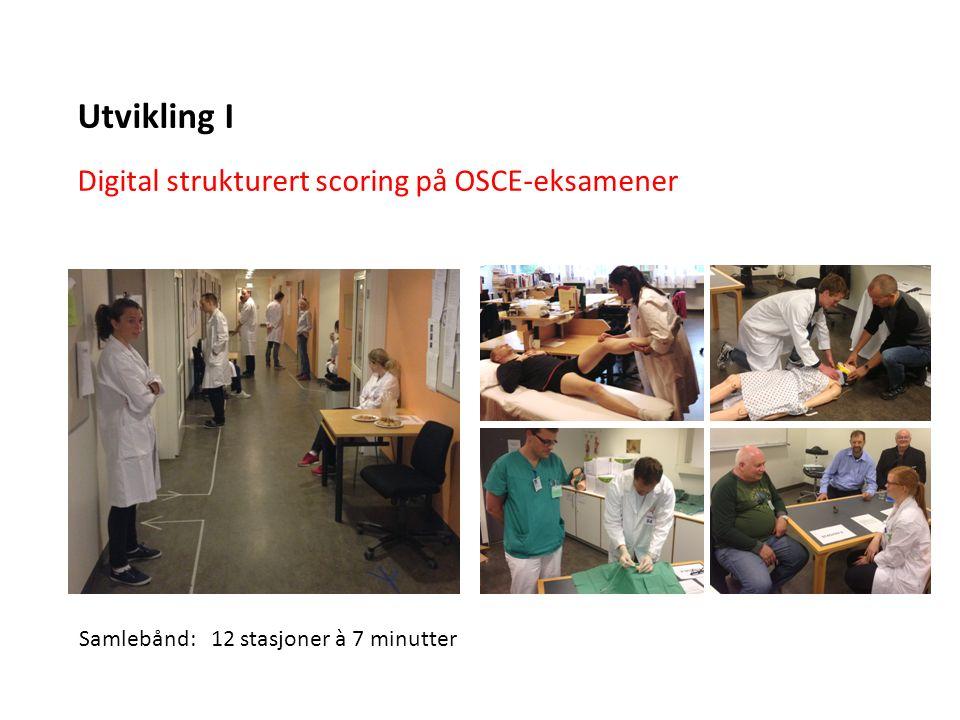 Digital strukturert scoring på OSCE-eksamener Utvikling I Samlebånd: 12 stasjoner à 7 minutter