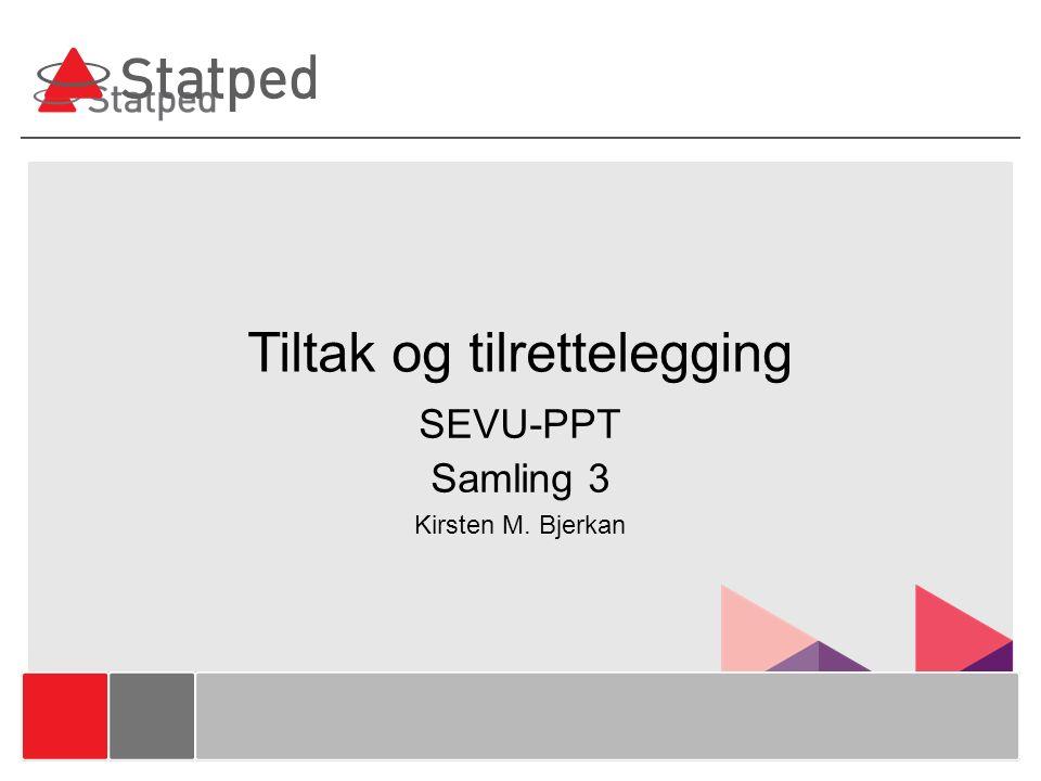 Tiltak og tilrettelegging SEVU-PPT Samling 3 Kirsten M. Bjerkan