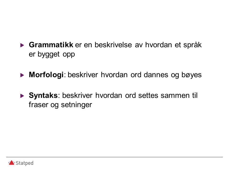 Grammatikk er en beskrivelse av hvordan et språk er bygget opp Morfologi: beskriver hvordan ord dannes og bøyes Syntaks: beskriver hvordan ord settes