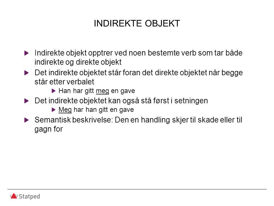 INDIREKTE OBJEKT Indirekte objekt opptrer ved noen bestemte verb som tar både indirekte og direkte objekt Det indirekte objektet står foran det direkt