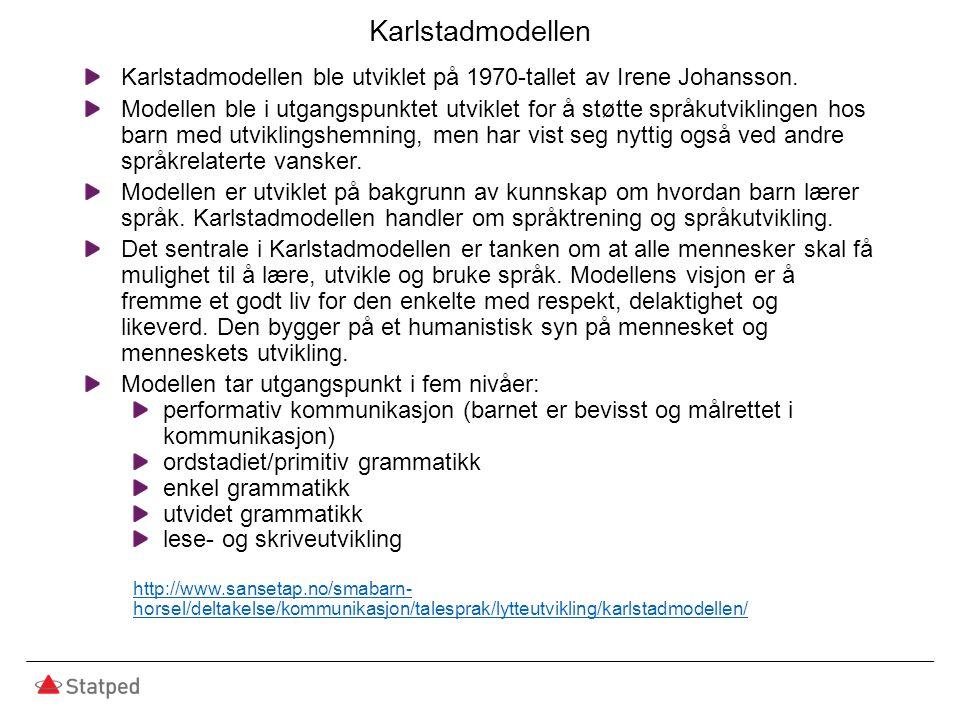 Karlstadmodellen Karlstadmodellen ble utviklet på 1970-tallet av Irene Johansson. Modellen ble i utgangspunktet utviklet for å støtte språkutviklingen