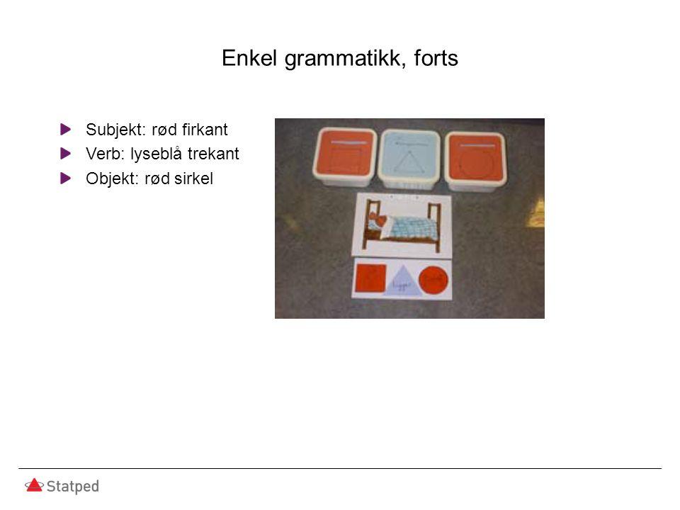 Enkel grammatikk, forts Subjekt: rød firkant Verb: lyseblå trekant Objekt: rød sirkel